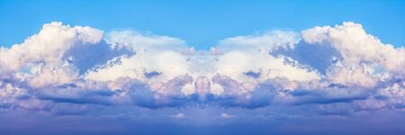 Beautiful dramatic clouds with blue sky background. Nature weather, panoramic cloud and sky background