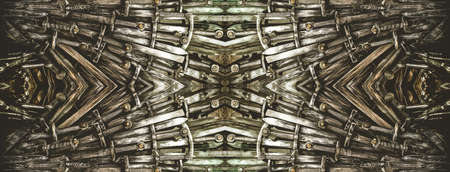 Metal knight swords horizontal background. Close up. The concept Knights. Stock Photo