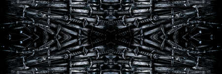 Metal knight swords horizontal background. Close up. The concept Knights. Banco de Imagens