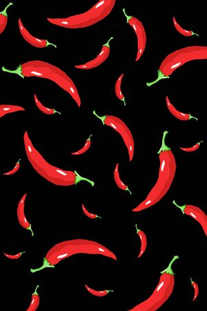 Color chili pepper wallpaper on isolated background , white , red , black , green , blue Standard-Bild