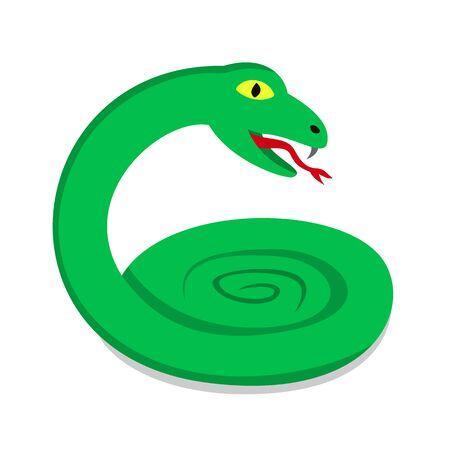 hissing: Green snake Illustration