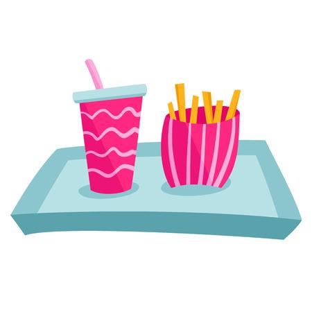 bandeja de comida: Bandeja de comida r�pida Vectores