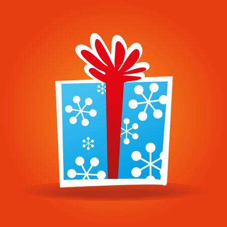 blue gift box: Blue gift box with bright orange background Illustration
