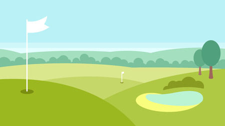Golf landscape with a lake, forest and green fields Stock Illustratie