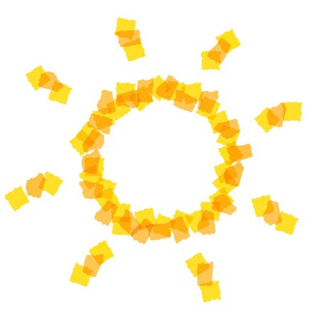 small paper: Sun icon made of small paper pieces