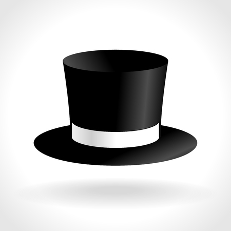 tophat: Black Top Hat Icon With Shadow