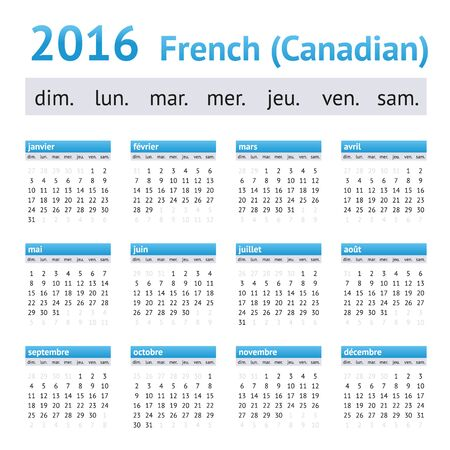 calendrier: 2016 French American Calendar (Canadian version). Week starts on Sunday