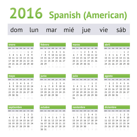 starting a business: 2016 Spanish Calendar - American Version. Week starts on Sunday