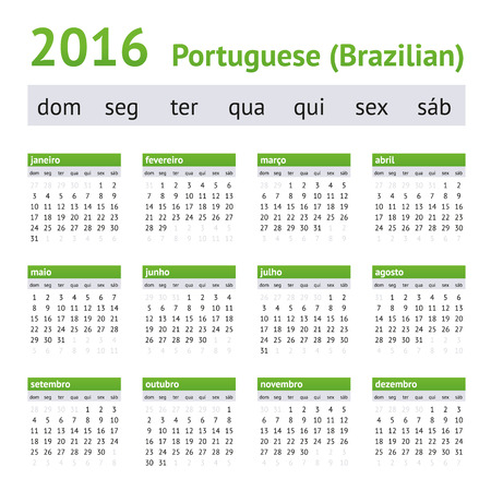 agenda: 2016 American Calendar on Portuguese. Brazilian version. Week starts on Sunday