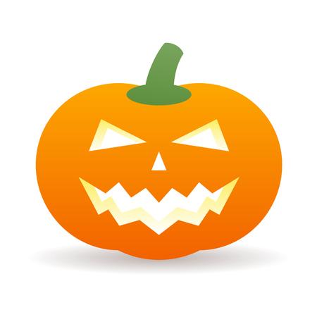 Halloween icona arancione zucca con ombra Vettoriali