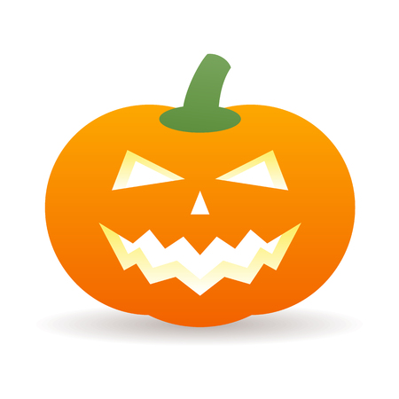 horror face: Halloween orange pumpkin icon with shadow