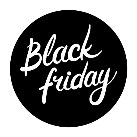 black a: Black Friday round icon with hand drawn text Illustration