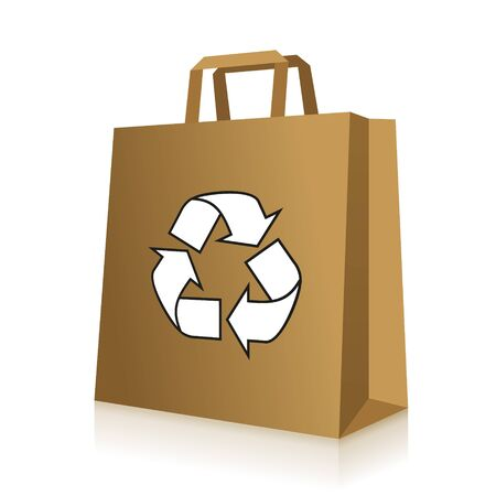 brown paper bag: Recycled brown paper bag icon