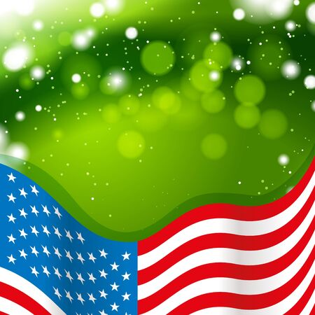 green banner: USA flag with green background and lights