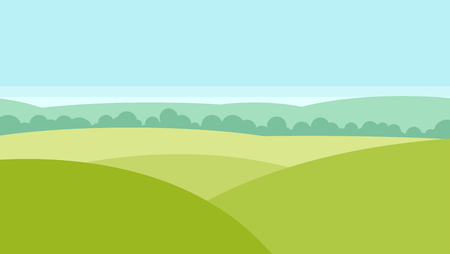 green fields: Vector landscape with green fields and forest