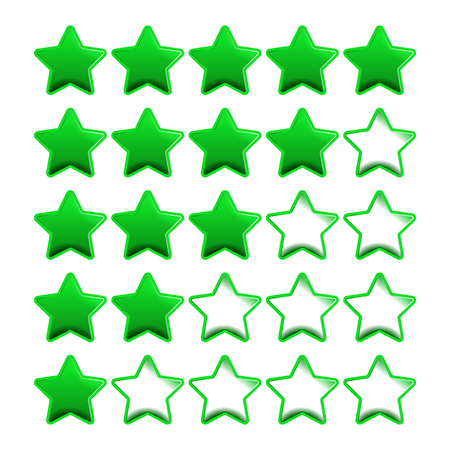 five stars: Green rating stars with five point scale