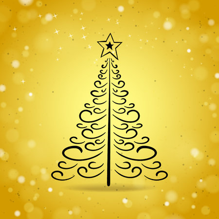 the shine: Abstract Outline Christmas Tree on Gold Shine Background Illustration