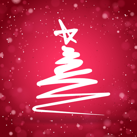 christma: Christmas tree sketch with red sparkling background