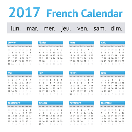 17: 2017 French Calendar. Week starts on Monday