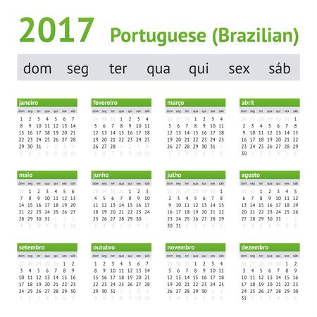 2017 Portuguese Calendar. Week starts on Sunday