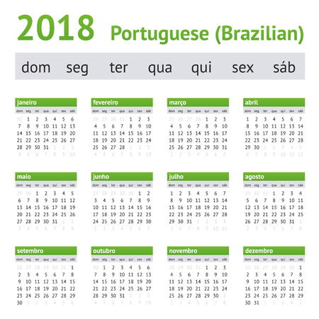 2018 Portuguese American Calendar. Week starts on Sunday
