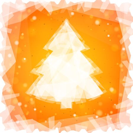 Frozen Christmas tree on a orange square background and snowflakes
