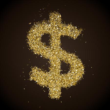 Glittering Golden Dollar Sign on a Black Background Illusztráció