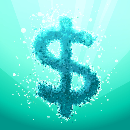 Bubble Dollar Sign on an Abstract Turquoise Underwater Background