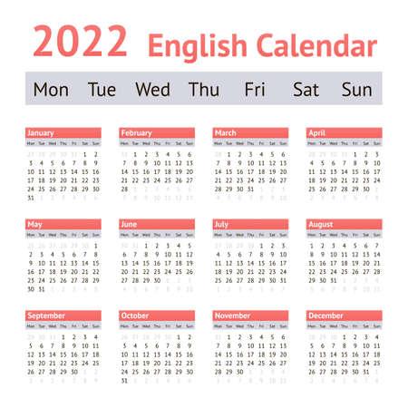 2022 European English Calendar. Weeks start on Monday Vettoriali