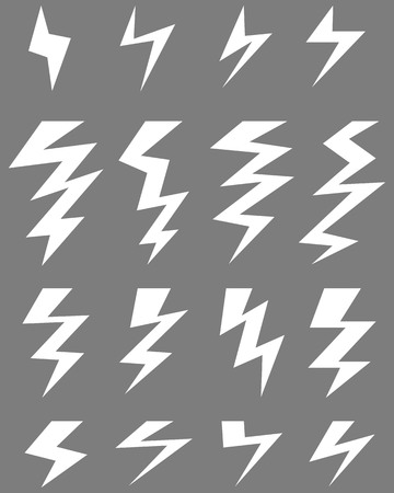 forked: White icons of thunder lighting on a gray background