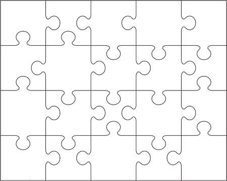 Abbildung der unterschiedlichen Teile des weißen Puzzlespiels