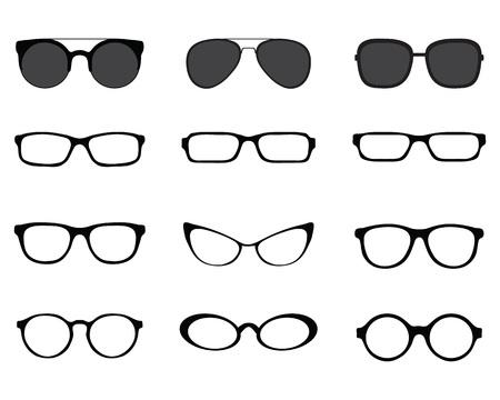 Schwarze Schattenbilder der verschiedenen Brillen auf einem weißen Hintergrund Vektorgrafik