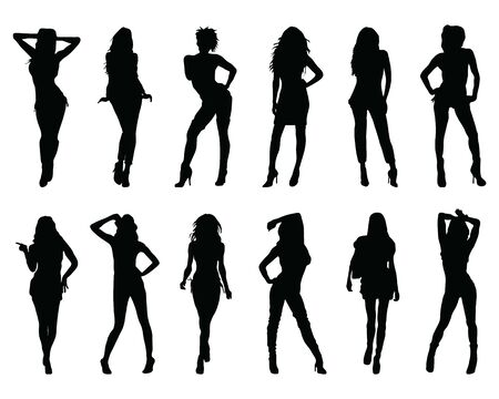 Black silhouettes of women in different  posing on a white background Ilustração