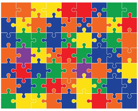 Colorful shiny puzzle, separate pieces