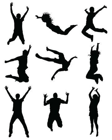 Black silhouettes of jumping on a white background Ilustração