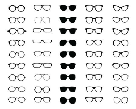 Black silhouettes of different  eyeglasses on a white background