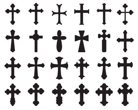 Duży zestaw czarnych sylwetek różnych krzyży, różnych symboli religijnych
