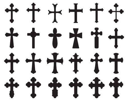 Großes Set schwarzer Silhouetten verschiedener Kreuze, verschiedener religiöser Symbole