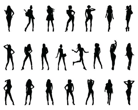 Black silhouettes of women in different posing on a white background Ilustração Vetorial