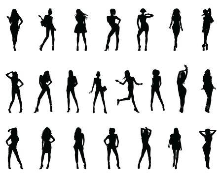 Siluetas negras de mujeres en diferentes poses sobre un fondo blanco. Ilustración de vector