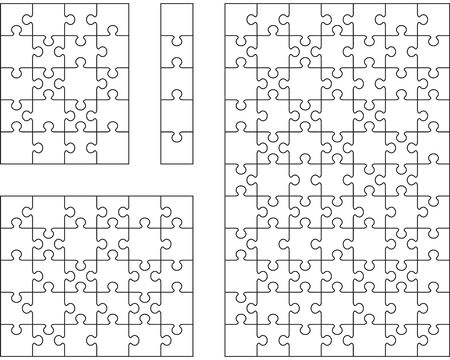 Illustration of four different white puzzles, separate pieces Ilustración de vector