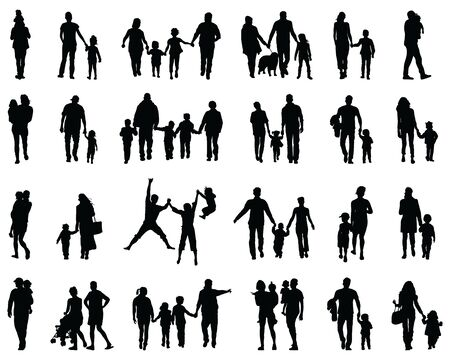Black silhouettes of families in a walk on a white background Vetores