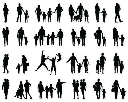 Siluetas negras de familias en un paseo sobre un fondo blanco. Ilustración de vector