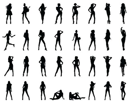 Black silhouettes of beautiful girls in various poses on a white background