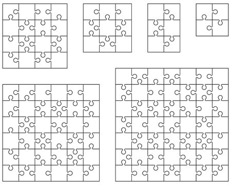 Illustration of different white puzzles, separate pieces