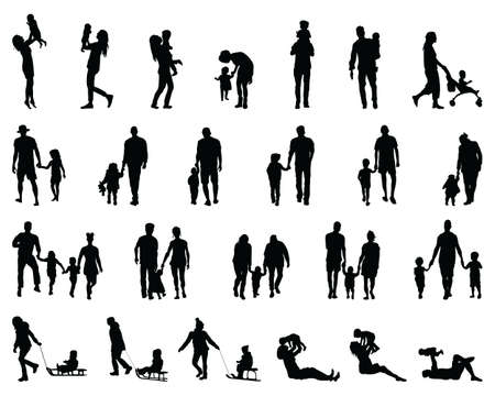 Silhouettes of families at walking and game on a white background Ilustracje wektorowe