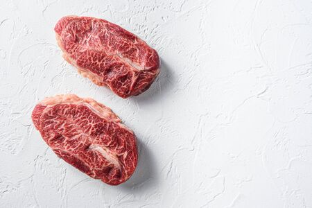 Australia wagyu oyster top blade steak on white background top view space for text.