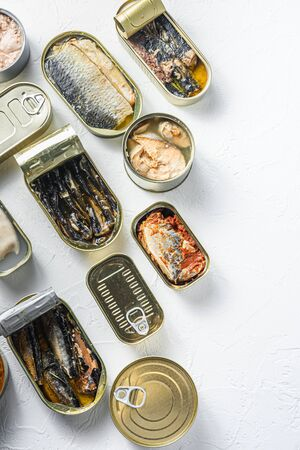 opened cans with different types of fish and seafood, opened and closed cans with Saury, mackerel, sprats, sardines, pilchard, squid, tuna, over white stone surface top view vertical space for text