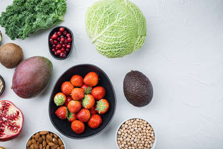 Healthy products with immunity boosters, flat lay with space for text, on white background.