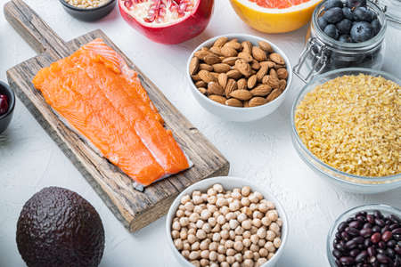 Health food with immune boosting, on white background.